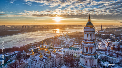 Foto op Canvas Kiev Orange sunset and cloud over cityscape Kiev, Ukraine, Europe