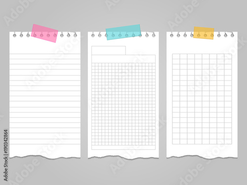 Fotografía Ripped lined notebook pages templates for notes or memo