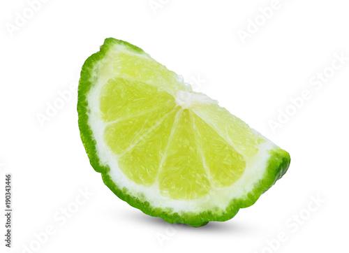 sliced fresh bergamot isolated on white background