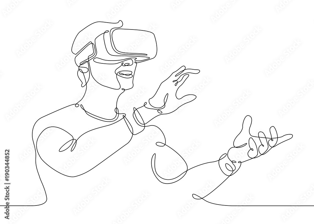 Fototapeta continuous line drawing Man in glasses device virtual reality