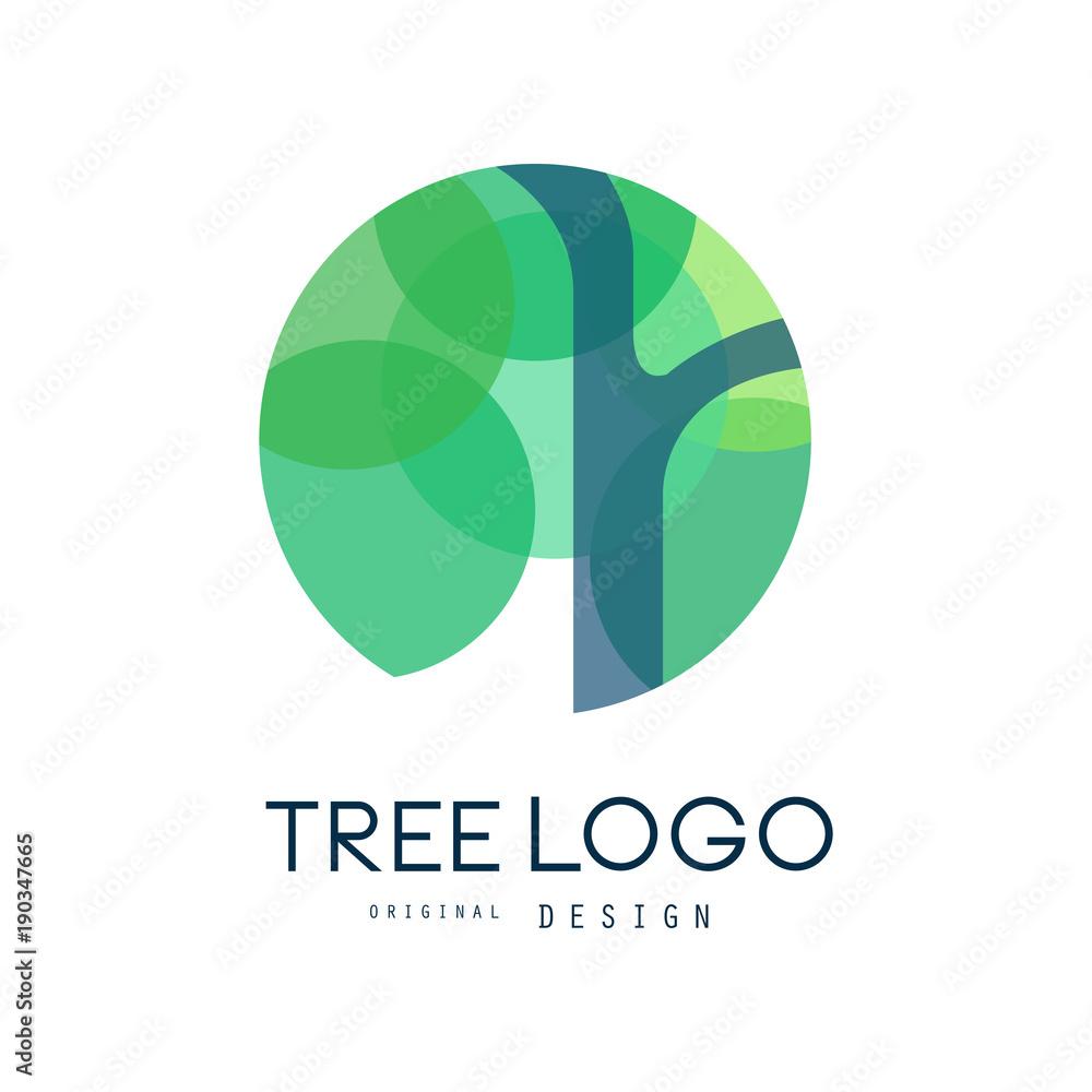 Fototapeta Green tree logo original design, green eco circle badge, abstract organic element vector illustration