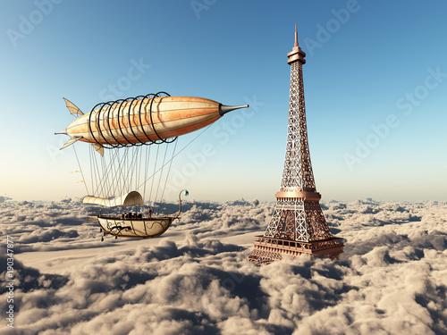 Fantasie Luftschiff und Eiffelturm über den Wolken Fotobehang