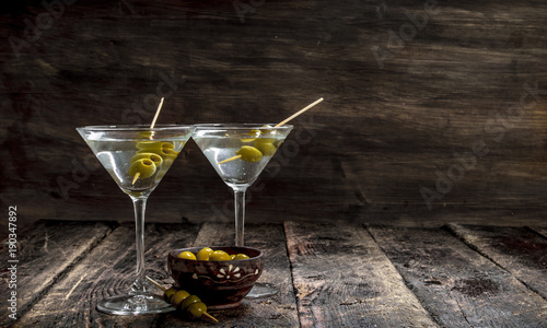 Poster Alcohol Martini with olives.
