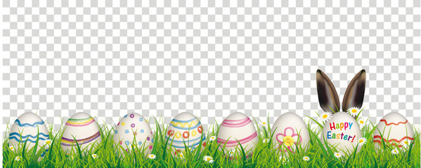 Natural Easter Eggs Happy Easter Rabbit Ears Transparent Header