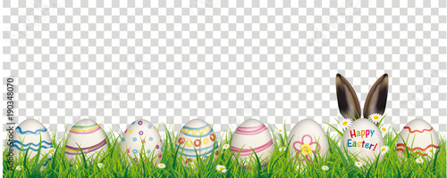 Natural Easter Eggs Happy Easter Rabbit Ears Transparent Header Wallpaper Mural
