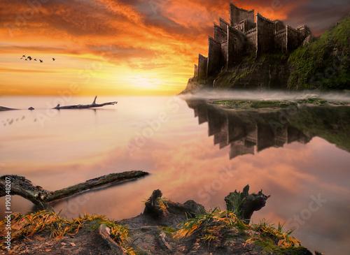 Poster Oranje eclat Fantasy fairytale castle on the sea cliff.