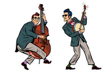 Rockabilly Jazz Musicians, Double Bass And Banjo