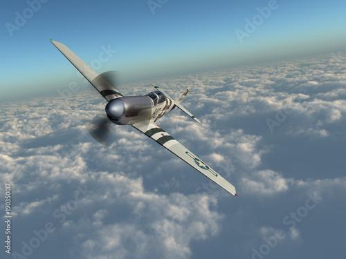 Amerikanisches Jagdflugzeug aus dem Zweiten Weltkrieg über den Wolken Wallpaper Mural