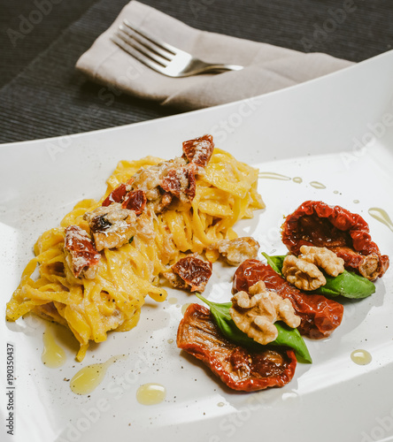 typical mediterranean diet meal with homemade fresh pasta