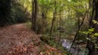 hiking trail beside rocky river autumn mountain1