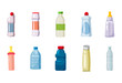 Plastic bottle icon set, cartoon style