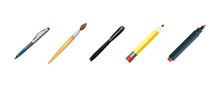 Pens Icon Set, Cartoon Style