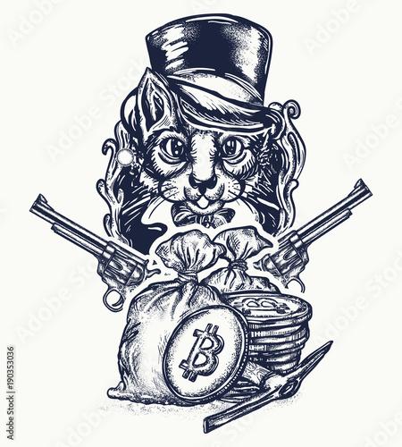 Obraz na plátně  Cat robber tattoo