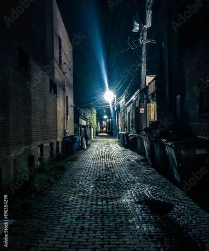 Poster Smal steegje Nighttime Alley