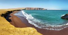 Red Sand Beach Of Paracas Nati...