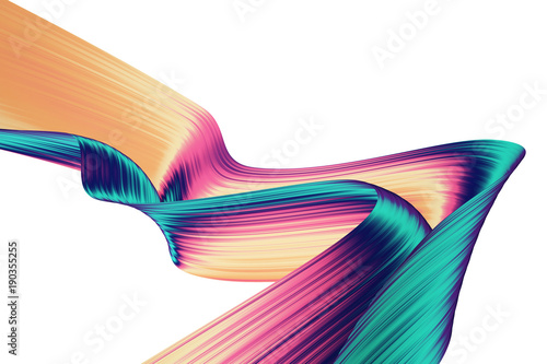 Obraz 3D render abstract background. Colorful twisted shapes in motion. Computer generated digital art for poster, flyer, banner background or design element. Holographic foil ribbon on white background. - fototapety do salonu