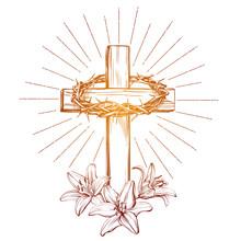 Crown Of Thorns, Wooden Cross ...