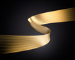 canvas print picture - Golden foil ribbon. 3D realistic render of curled ribbon on black background. Wavy tape for event banner, poster and other promotion. Glow and shaded design element.