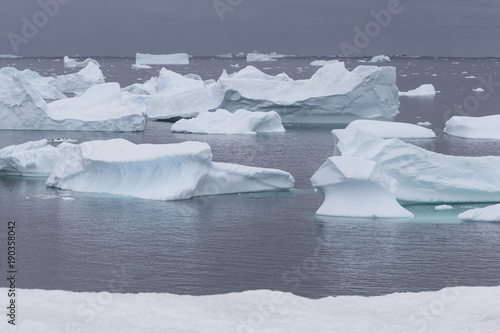 In de dag Antarctica Eisberge vor Petermann Island