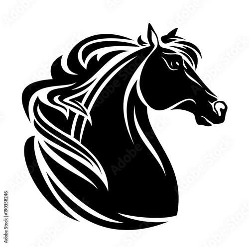 horse profile head - black and white vector design © Cattallina