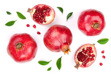 Pomegranate With Leaves Isolat...