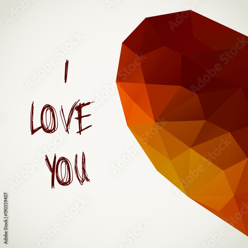 Polygonal Half Heart Of Color Triangles With Text I Love You Vector