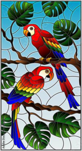 ilustracja-w-witrazu-stylu-z-para-ptakow-parakeet-na-galeziastym-tropikalnym