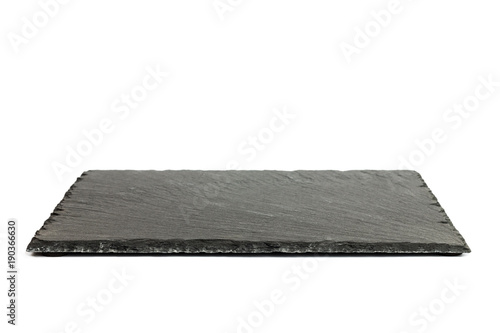 Fototapeta Black rectangular slate board isolated on white background