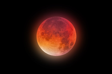 Super Bloody Moon red-orange glow