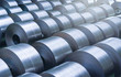 Leinwandbild Motiv Cold rolled steel coil at storage area in steel industry plant.