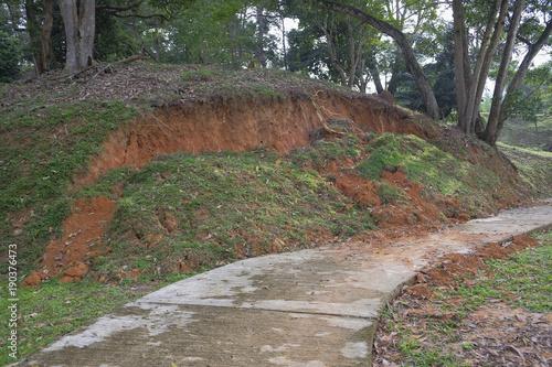 Soil erosion or landslide on the lake in the rainy season at Muadzam Shah, Malaysia Fototapet