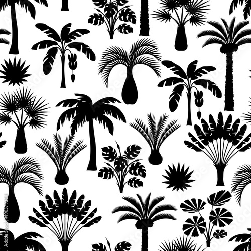 Seamless pattern with tropical palm trees. Exotic tropical plants Illustration of jungle nature Wall mural