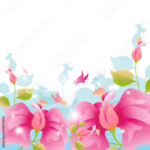 beautiful pink-blue flowers, isolated on a white © aboard