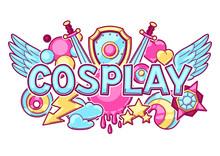 Japanese Anime Cosplay Print. Cute Kawaii Characters And Items