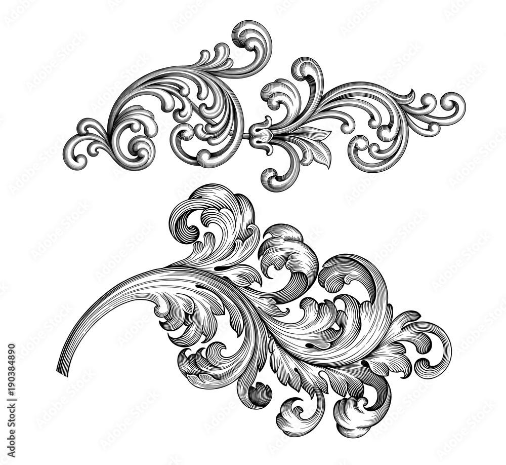 Fototapety, obrazy: Vintage Baroque Victorian frame border set floral engraved scroll ornament leaf retro flower pattern decorative design tattoo black and white filigree calligraphic vector heraldic shield swirl