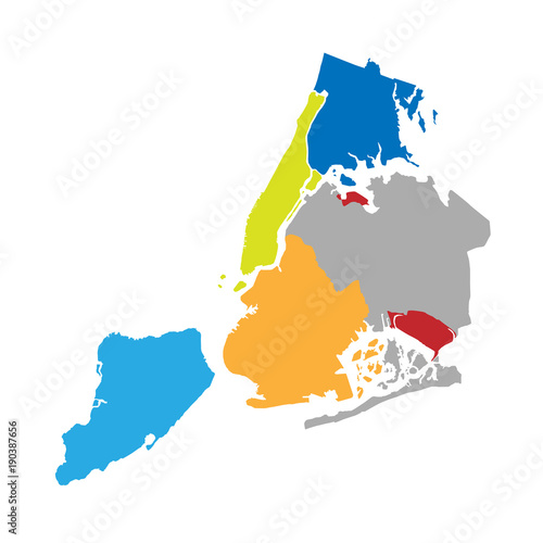 New York boroughs map - NYC administrative divisions and districts Wallpaper Mural