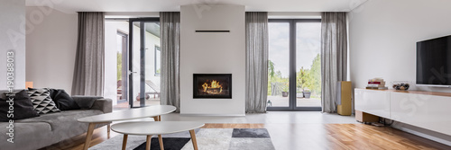 Obraz na plátně Elegant living room with fireplace