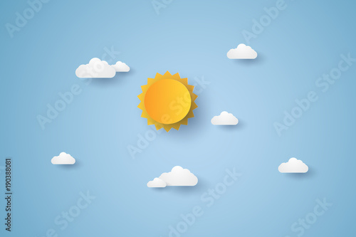 Obraz Cloudscape , blue sky with cloud and sun , paper art style - fototapety do salonu