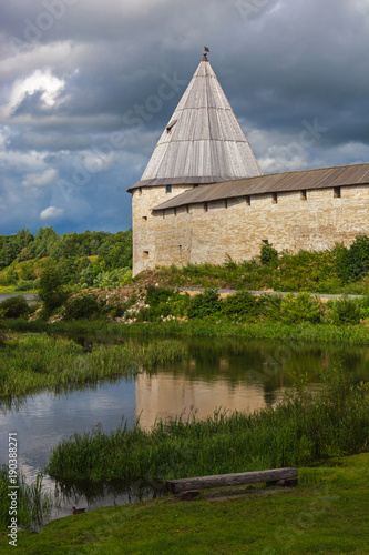 Fotografie, Obraz  View of the old fortress of Ladoga on the shore of Volkhov River in overcast day
