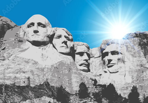 Obraz na plátně Mont Rushmore - États Unis - monument - symbole - américain - USA - sculpture -