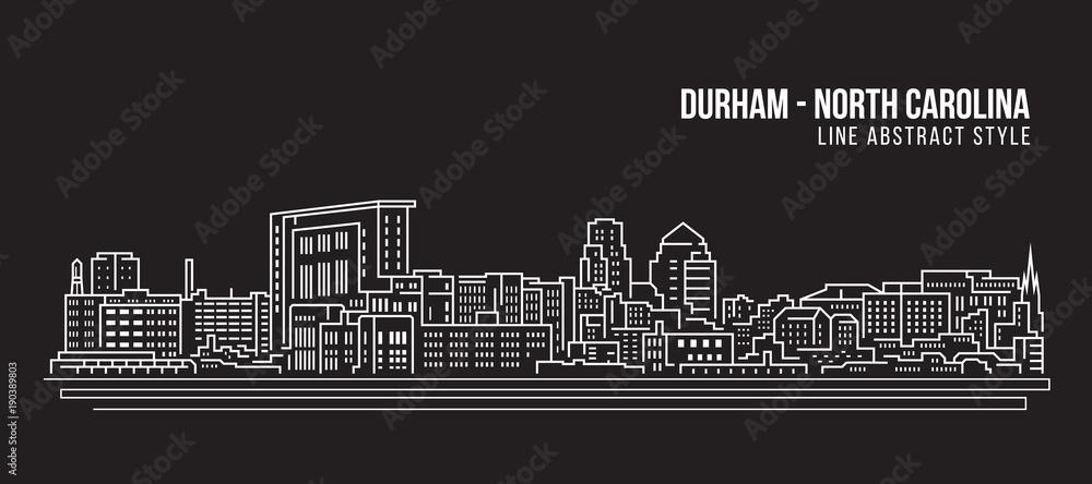 Fototapety, obrazy: Cityscape Building Line art Vector Illustration design - durham city (north carolina)