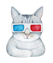 """Movie Time"" Illustration. Gray Tabby Cat In 3D Eye Glasses Watching A Movie. Smiling Face, Folded Paws, Relax, Leisure, Chillout Mood. Red And Blue Colours. Hand Drawn Watercolour On White, Isolate."
