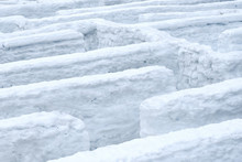 Winter Maze With Snow Walls.
