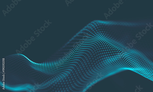 In de dag Abstract wave Abstract Music background. Big Data Particle Flow Visualisation. Science infographic futuristic illustration. Sound wave. Sound visualization