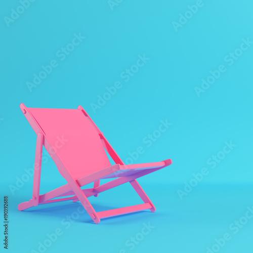 Carta da parati Pink beach chair on bright blue background in pastel colors