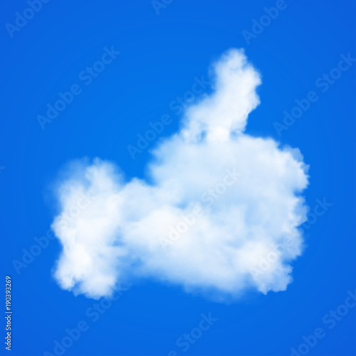 Thumb up icon on blue sky with realistic clouds  Vector