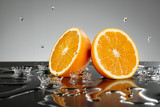 Orange slices with water drops