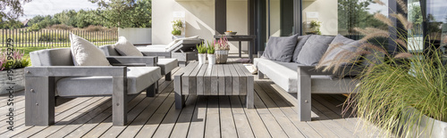Vászonkép Wooden terrace in residence