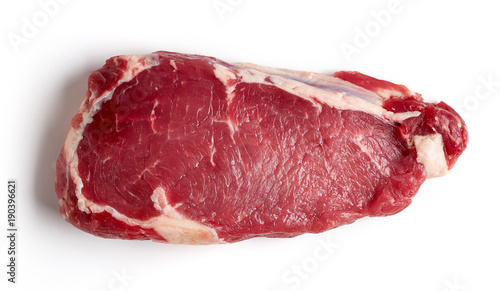 Fresh raw beef steak isolated on white, from above