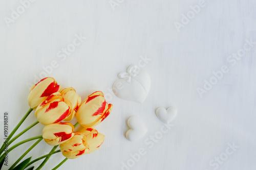 Foto op Plexiglas Tulp Yellow tulips flowers on a light background